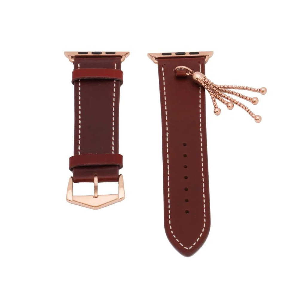 Rose Gold Apple Watch Band Women Fashion Tassels Cowhide Genuine Leather Strap Fits Series 1 2 3 4 Iwatch Watchbands 44Mm/ 40Mm/ 42Mm/ 38Mm