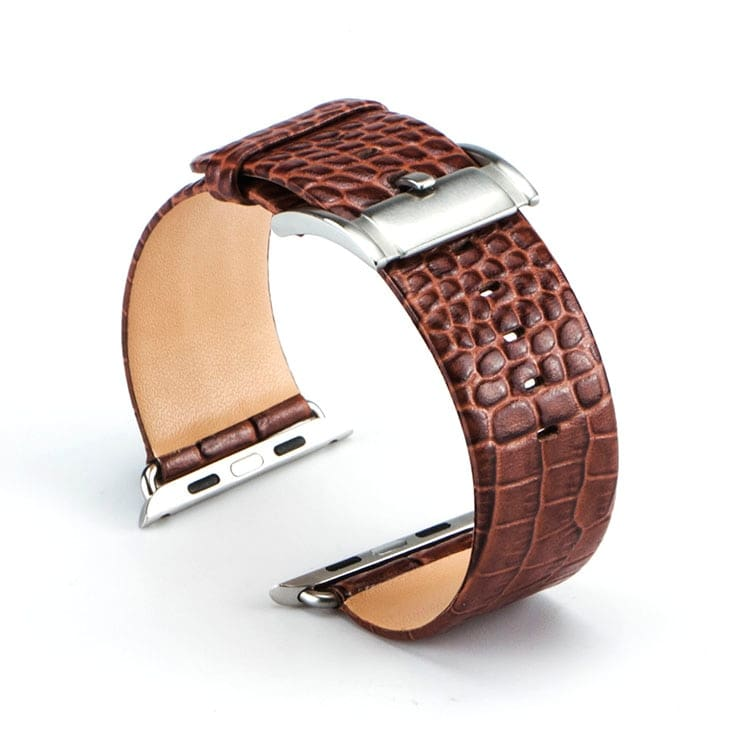 Apple Watch Band Crocodile Genuine Leather Strap For 44Mm/ 40Mm/ 42Mm/ 38Mm Iwatch Series 1 2 3 4