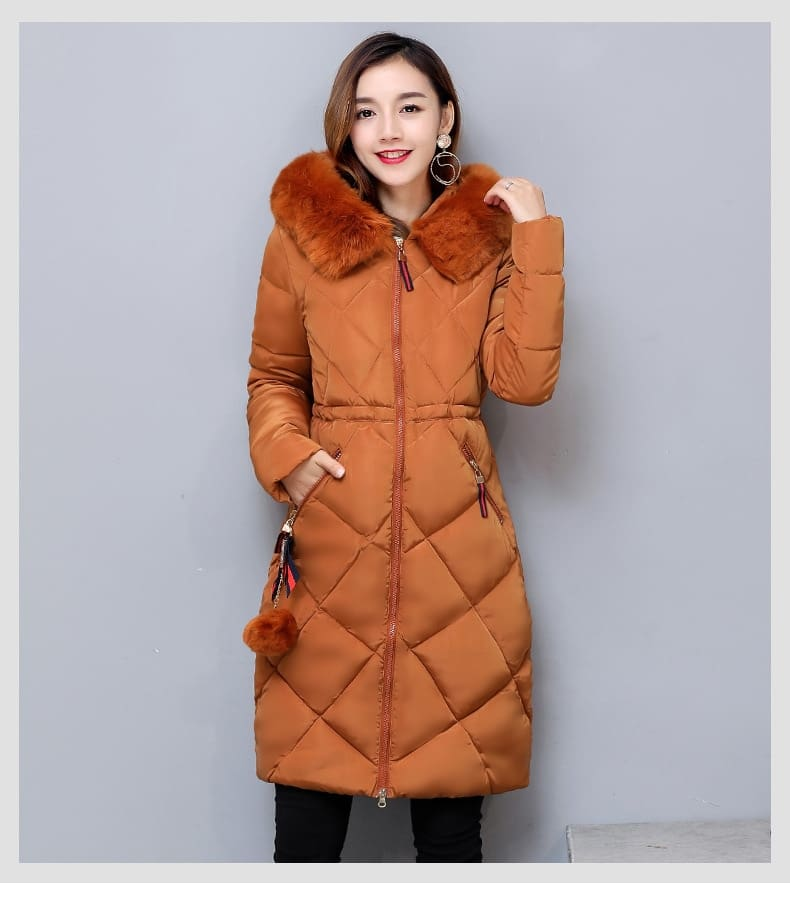 Big Fur Winter Coat Thickened Parka Women Stitching Slim Long Winter Coat Down Cotton Ladies Down Parka Down Jacket Women (Us 10-18W)