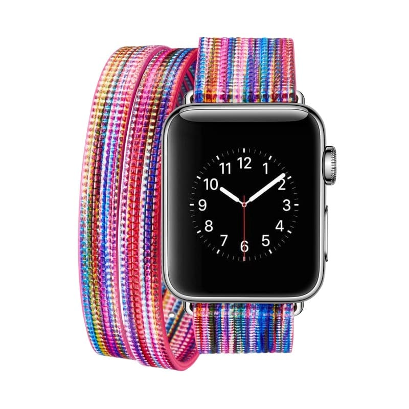 Colorful Rainbow Leather Band For Apple Watch Series 1 2 3 4 Bracelet Double Tour Genuine Leather Strap For Iwatch Belt 44Mm/ 40Mm/ 42Mm/