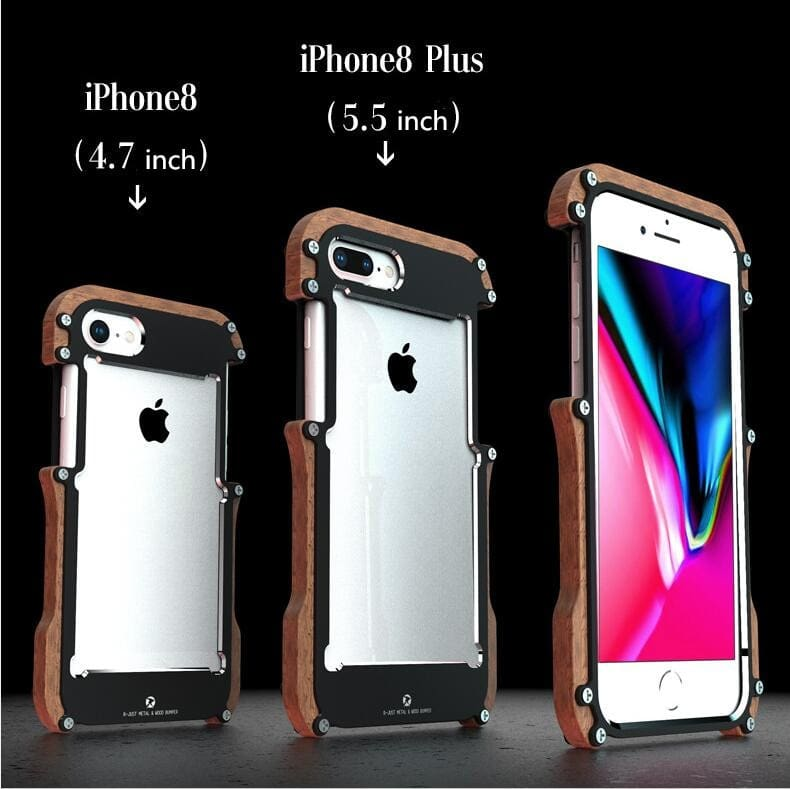 iPhone X 8 7 6 6S Plus 5 5S SE wood case metal bumper (2)