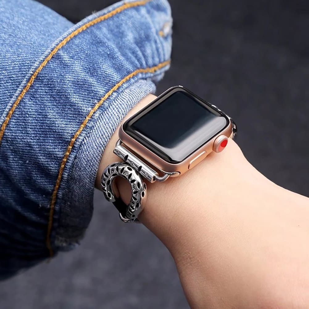 Apple Watch Band Leather Ethnic Bracelet Stainless Steel 44Mm/ 40Mm/ 42Mm/ 38Mm Iwatch Series 1 2 3 4
