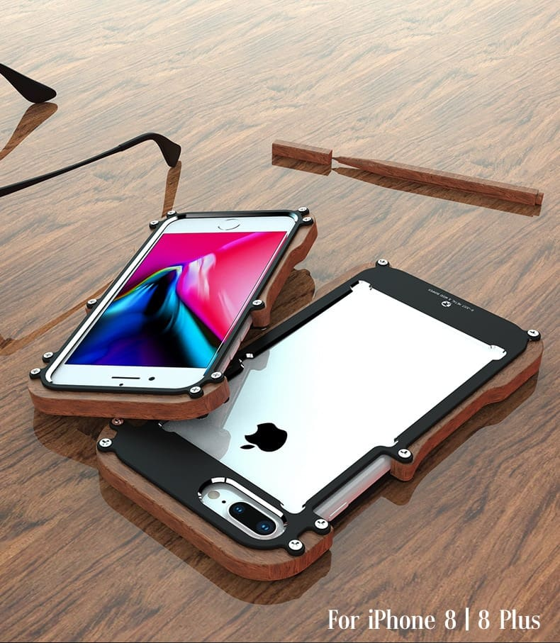 iPhone X 8 7 6 6S Plus 5 5S SE wood case metal bumper (3)