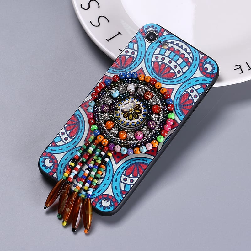 National Vintage Style Rhinestone Fringe Hard Case Bling Cell Phone Cases Cover For Iphone 6 6Plus 7 7Plus 8 8Plus X Xs Max