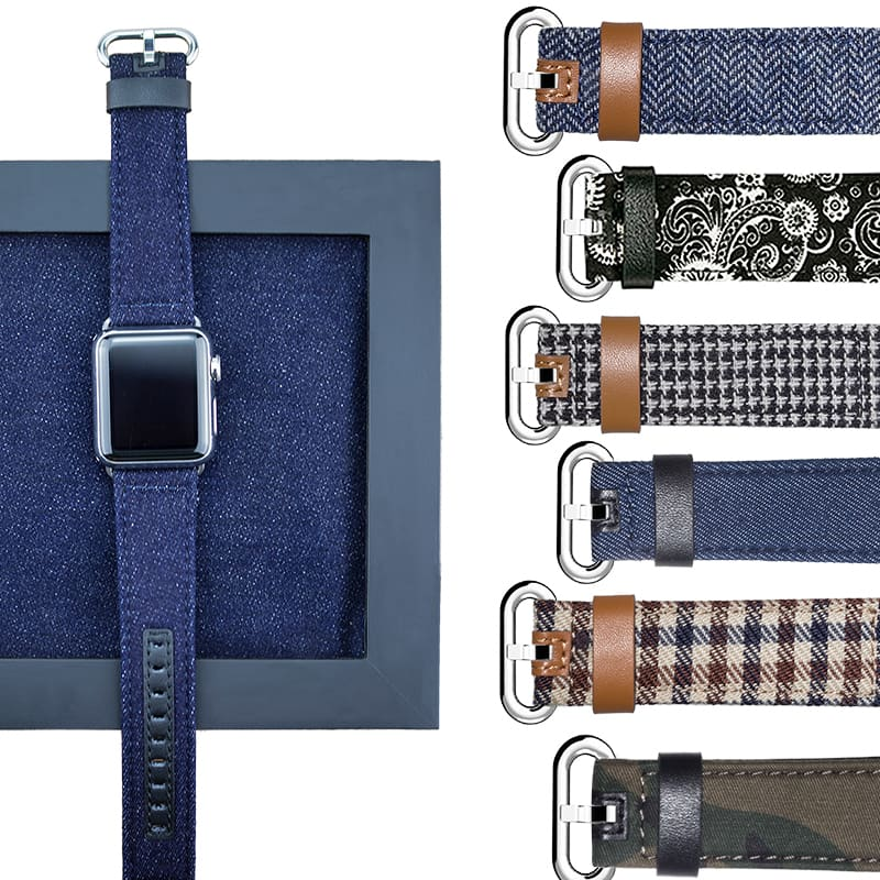 Denim Apple Watch Band 44Mm/ 40Mm/ 42Mm/ 38Mm New Upscale Luxury Original Genuine Leather Fabric Denim 1:1 For Iwatch Series 1 2 3 4 Strap