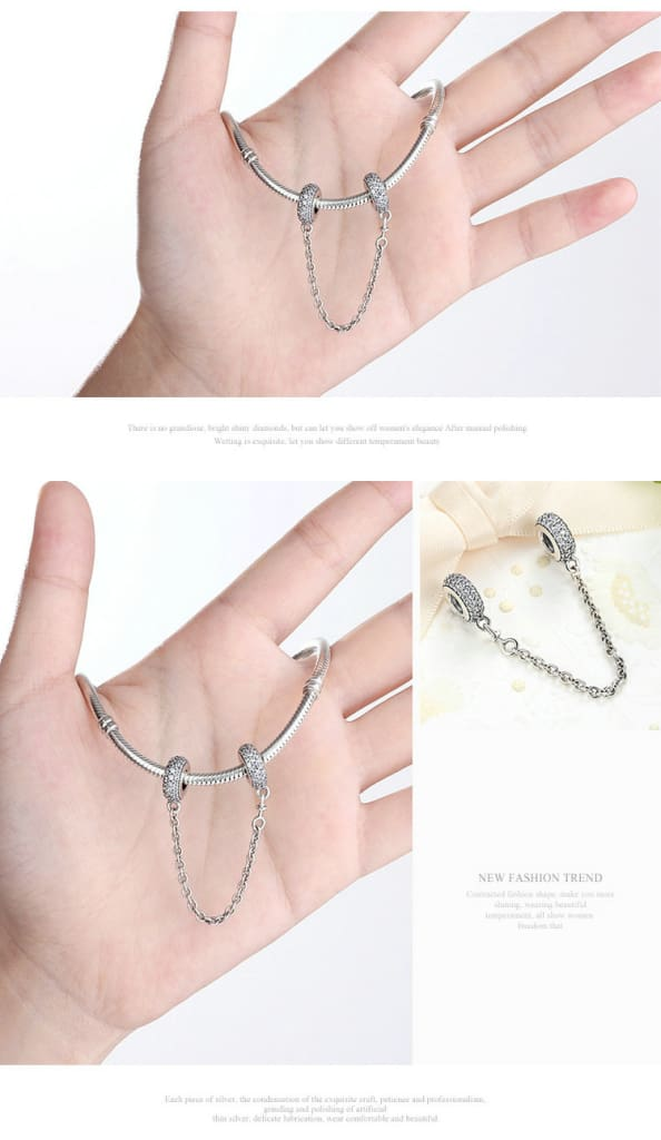 7 Styles, 925 Sterling Silver Pave Safety Chains