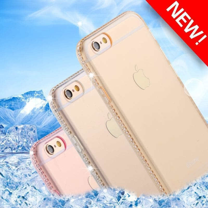 Diamond Bling Transparent Phone Case Cover For Iphone 6 6S Plus Soft Tpu Clear Cover For Iphone X Xr Xs Max 8 7 Plus 5 Se