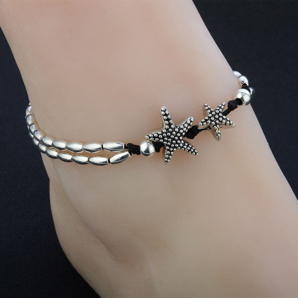 Vintage Bracelet Foot Jewelry Retro Anklet For Women Girls Ankle Leg Chain Charm Starfish Beads Bracelet Fashion Beach Jewelry