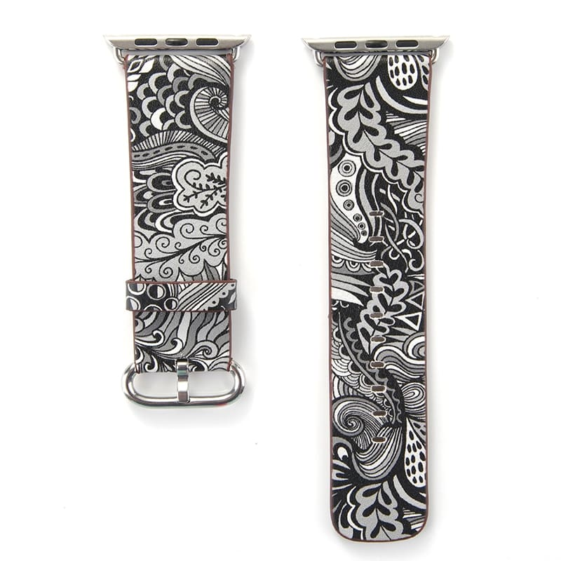 Apple Watch Leather Flower Print Band Strap 44Mm/ 40Mm/ 42Mm/ 38Mm Series 1 2 3 4