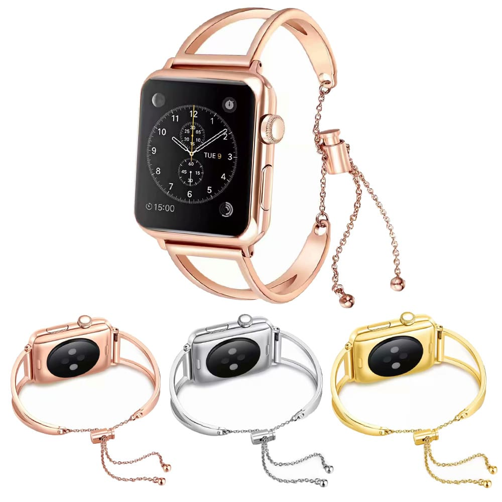 Apple Watch Band Cuff, luxury bracelet rose gold women fashion Fits 44mm 40mm 42mm 38mm, Iwatch Series 1 2 3 4 stainless steel mia