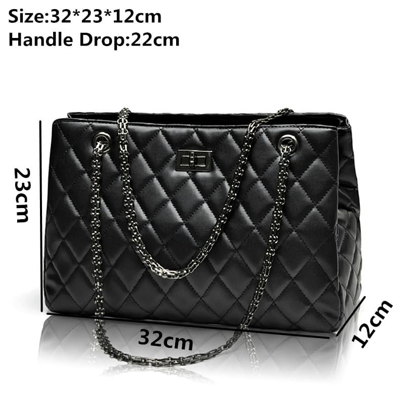 Quilted Large Plaid Chain Shoulder - Bagw7*