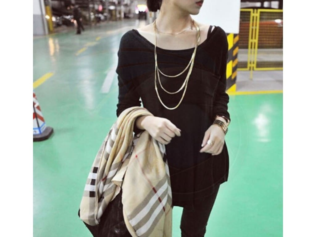 Three Layer Metal Button Accessories Long Necklace Sweater Decoration Chain*