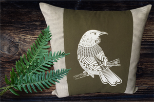 Screen Printed - Tui - Olive - Cushion Cover