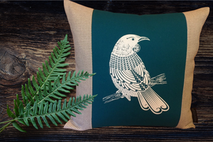 Screen Printed - Tui - Teal - Cushion Cover