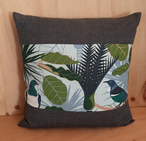 New Zealand Native Cushion Cover - Wood Pigeon & Tui - Gili - Zebra Boarder