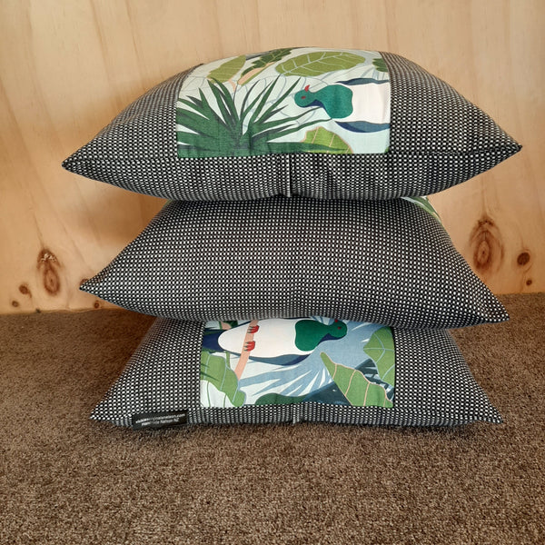 New Zealand Native Cushion Cover - Tui & Wood Pigeon - Gili - Zebra Boarder - Set 3