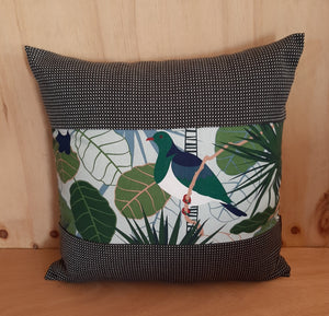 New Zealand Native Cushion Cover - Wood Pigeon - Gili - Zebra Boarder