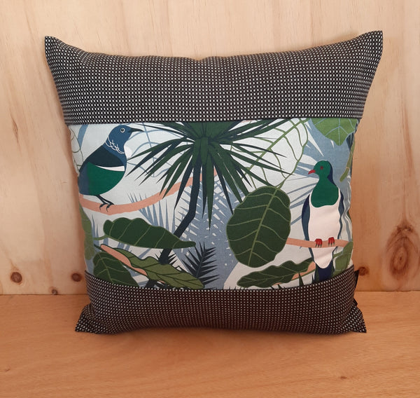 New Zealand Native Cushion Cover - Tui & Wood Pigeon - Gili - Zebra Boarder