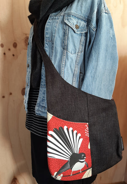 Shoulder bag - Red- Pīwakawaka - Fantails