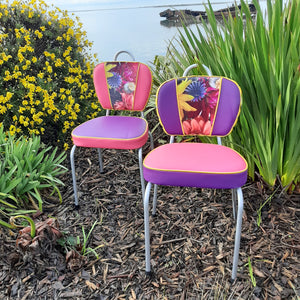 Retro Kitchen Chairs with floral photo velvet