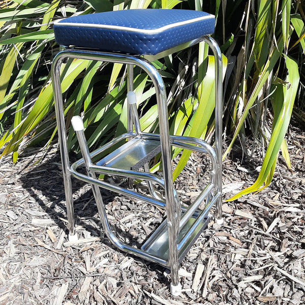 Retro Chrome Step Stool - Seat