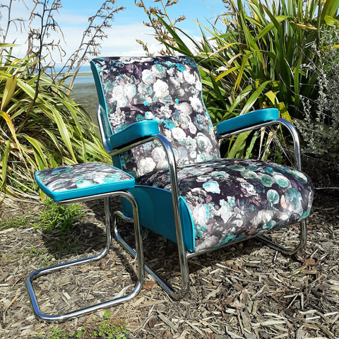 Retro Lounge Arm Chair & Footstool