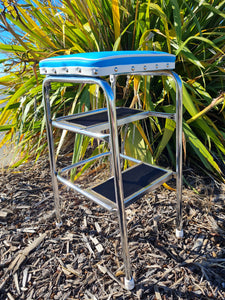 Retro Chrome Step Stool - Seat - Blue with White Piping