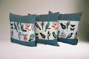 NZ Native Bird Theme Cushion Cover - Kiwi