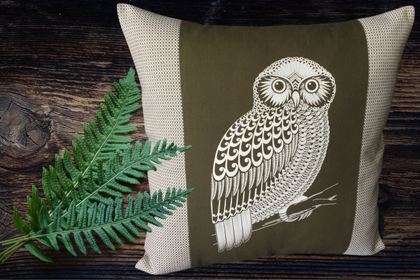 Screen Printed - Morepork - Olive - Cushion Cover