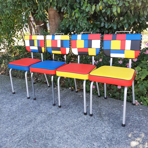 Set of Piet Mondrian inspired Retro Kitchen Chairs