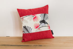 Cream Pīwakawaka Cushion Cover - Cherry