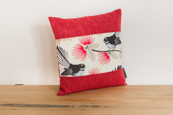 Set of 3 Cream Pīwakawaka Cushion Covers - Fantail- 3 boarder colours
