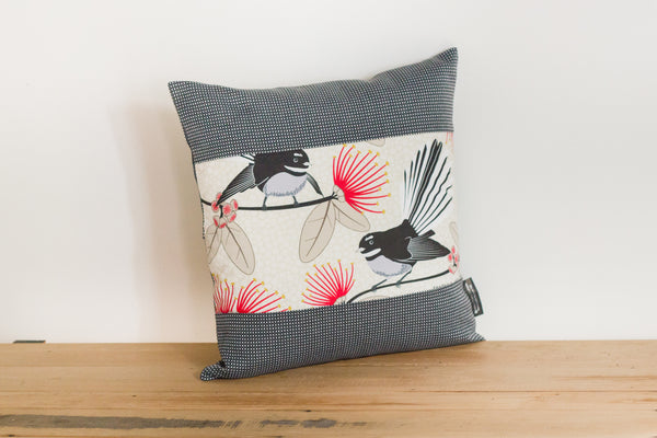 Cream Pīwakawaka Cushion Cover - Fantail - Grey Gili Boarder