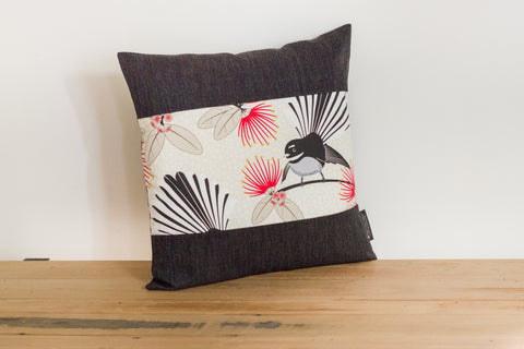 Cream Pīwakawaka Cushion Cover - Fantail - Black Boarder