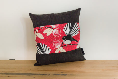 Pīwakawaka Cushion Cover - Fantail Red - Black Boarder