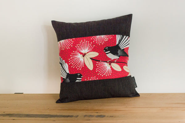 Cushions Set of 3 - Red Pīwakawaka - Fantail - 2 boarder colours