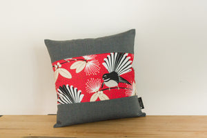 Pīwakawaka Cushion Cover - Red Fantail - Grey Gili Boarder