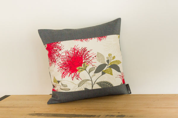 Cream Pohutukawa Cushion Cover - 2 Sizes - 3 boarder colours