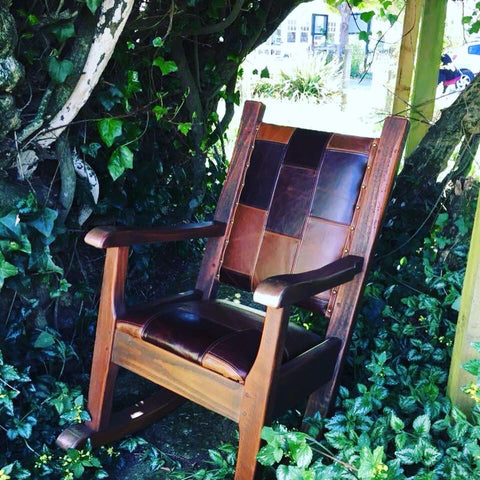 Leather Top Stitched Rocking Chair