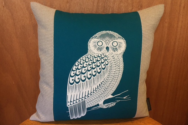 Screen Printed - Morepork - Teal - Cushion Cover