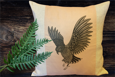 Screen Printed - Kea - Latte - Cushion Cover