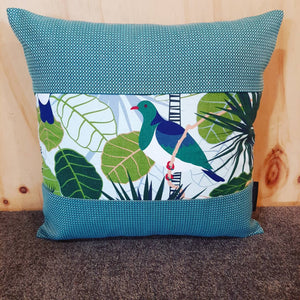 New Zealand Native Cushion Cover - Tui & Wood Pigeon - Gili - Kingfisher Boarder