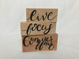 Inspirational Wood Sign - Set of 3 wood blocks