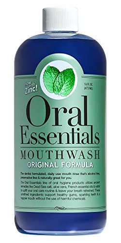 Oral Essentials Mouthwash Fresh Breath 16 Oz. Non-Toxic Alcohol/Sugar Free Dentist Formulated