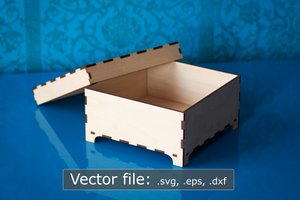 "Laser cut 6"" x 6"" wooden box with lid and feet (digital vector file)"