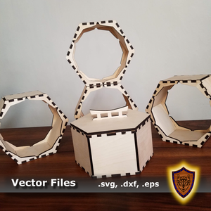 "Laser Cut - 8"" Hexagon Shelves and Box (Digital Download)"