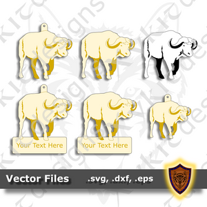 African Cape Buffalo - Animal Ornament - Magnet - Key Chain - (SVG, DXF, EPS) Digital Download