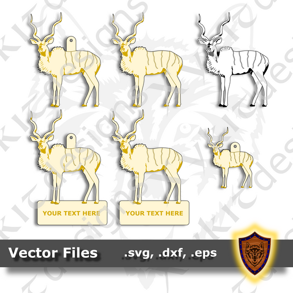 Kudu Antelope - Animal Ornament - Magnet - Key Chain - (SVG, DXF, EPS) Digital Download