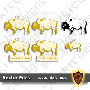 Bison - Animal Ornament - Magnet - Key Chain - (SVG, DXF, EPS) Digital Download