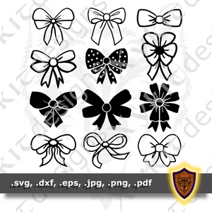 Bows SVG - 12 Variants - Christmas Gifts - Craft Files (Digital Download)